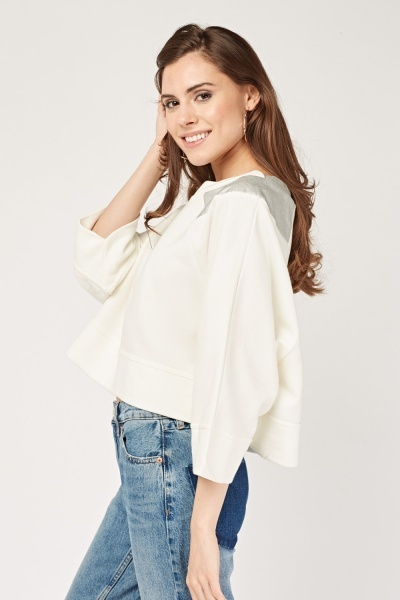 Faux Leather Insert Batwing Sleeve Sweater