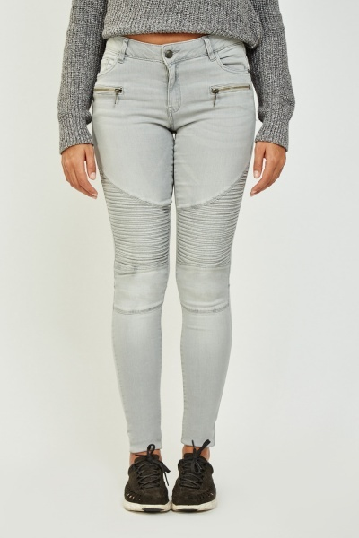 Grey Ribbed Knee Jeans