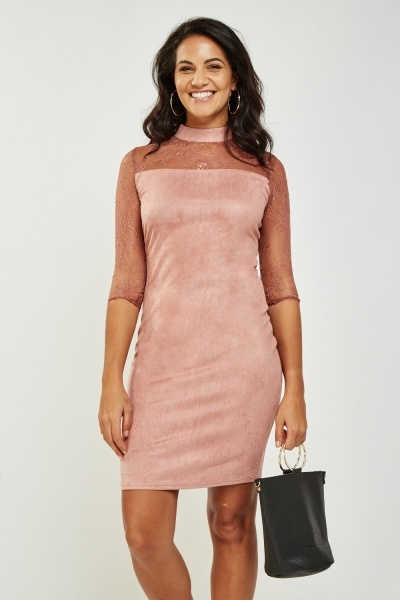 Lace Insert Suedette High Neck Dress