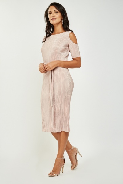 Pleated Tie Up Midi Dress