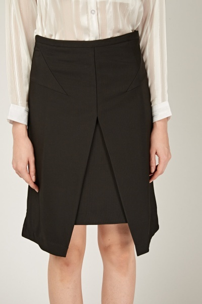 Thick Midi Wrap Front Skirt