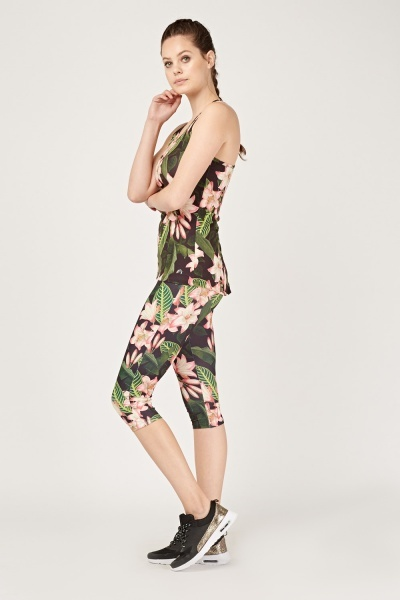 Tropical Floral Sports Capri Leggings