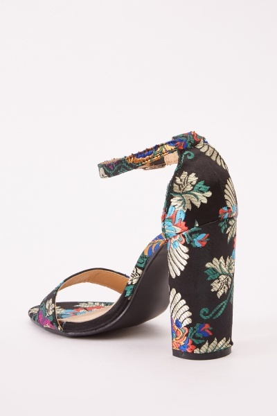 Embroidered Floral Open Toe Sandals
