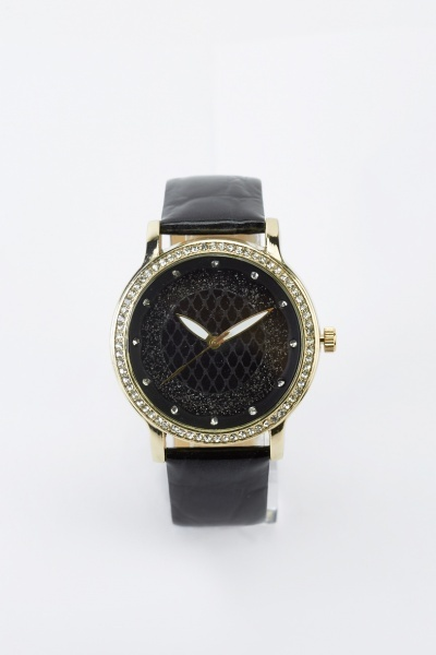 Encrusted Face Faux Leather Strap Watch