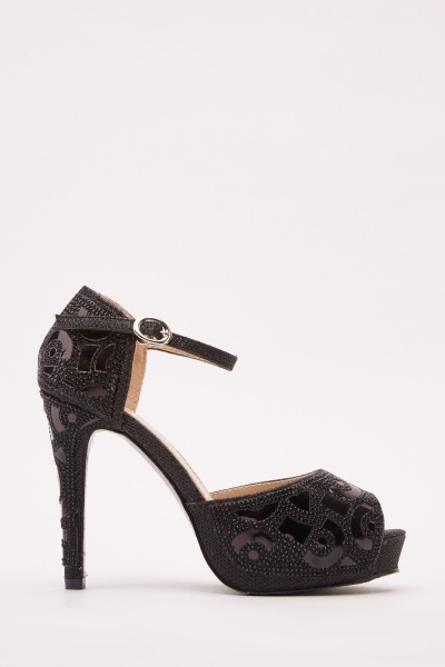 Mesh Insert Encrusted Heeled Sandals