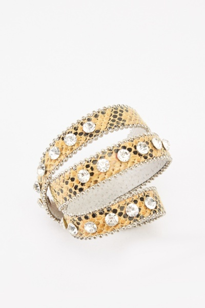 Mock Croc Multi Strap Cuff Bracelet