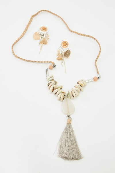 Tasseled Embellished Necklace And Earrings Set