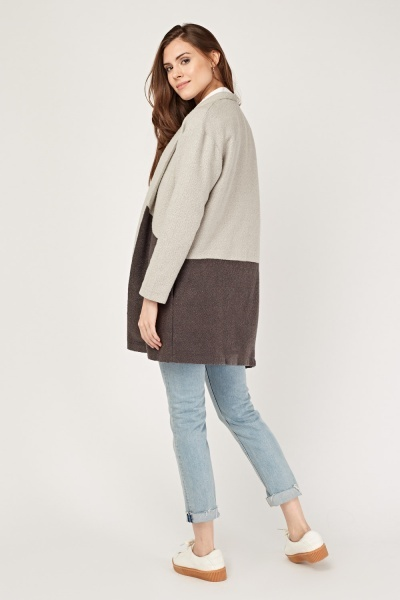Colour Block Knitted Long Jacket