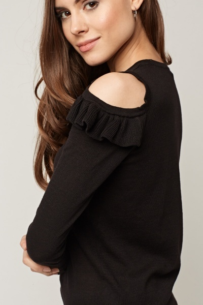 Cut Out Shoulder Frilled Knitted Top