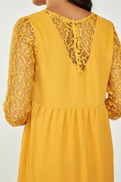 Lace Sleeve Frill Hem Dress