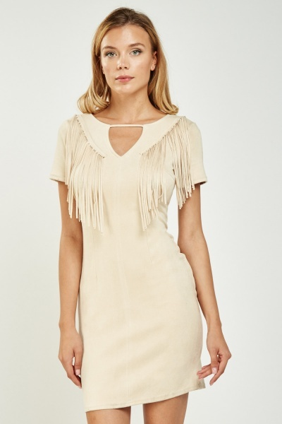 Suedette Fringed Bodycon Dress