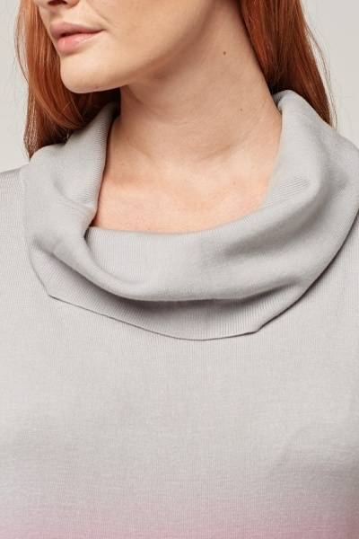 Ombre Cowl Neck Knitted Top