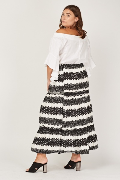 Printed Lace Trim Skirt
