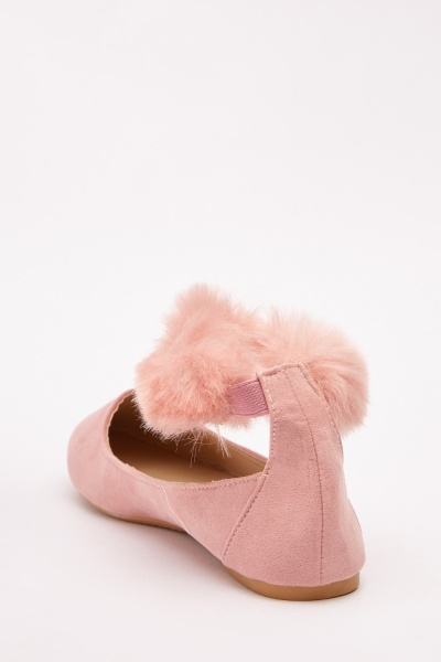 Faux Fur Trim Flat Pumps