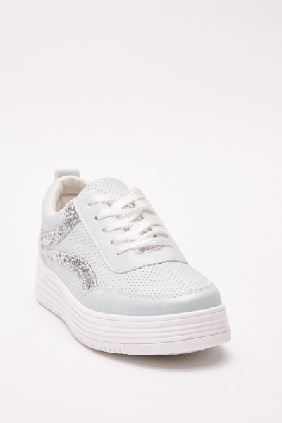Glittered Contrasted Platform Sneakers
