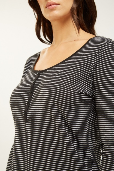 Basic Button Front Stripe Top