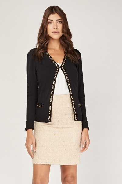 Chain Trim Knit Cardigan