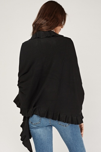 Ruffle Trim Knit Cape