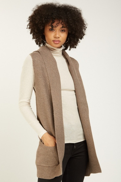 Sleeveless Hooded Knit Cardigan