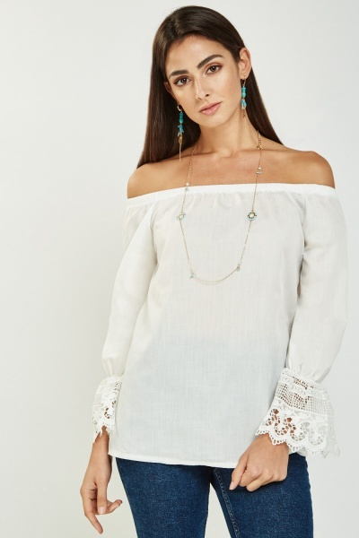 Crochet Sleeve Cuff Bardot Top