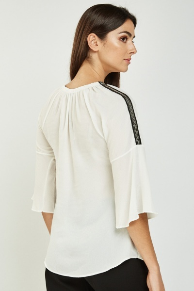 Sequinned Trim Sleeve Tunic Top