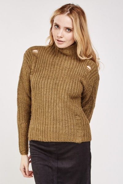 Laddered Chunky Knit Jumper