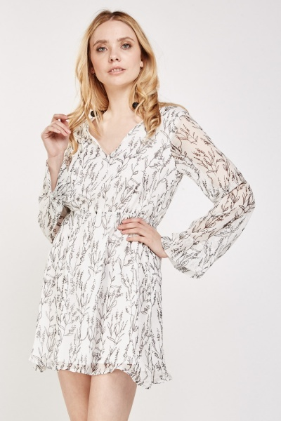 Printed Sheer Tunic Dress