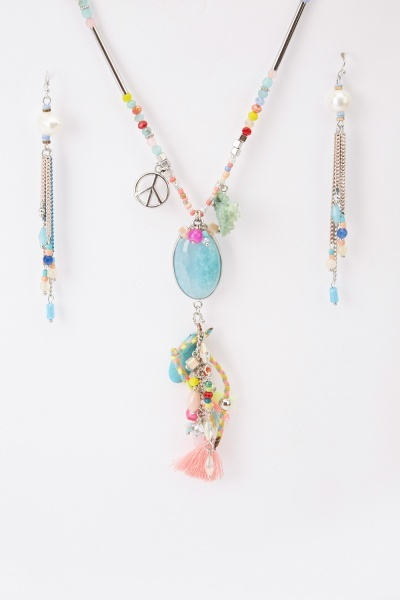 Beaded Tassel Necklace And Earrings Set