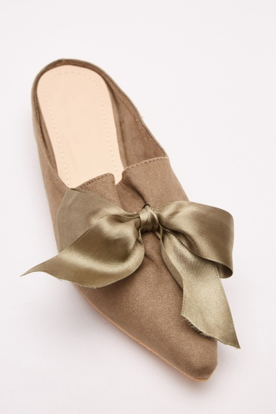 Bow Trim Sateen Slip-On Mules