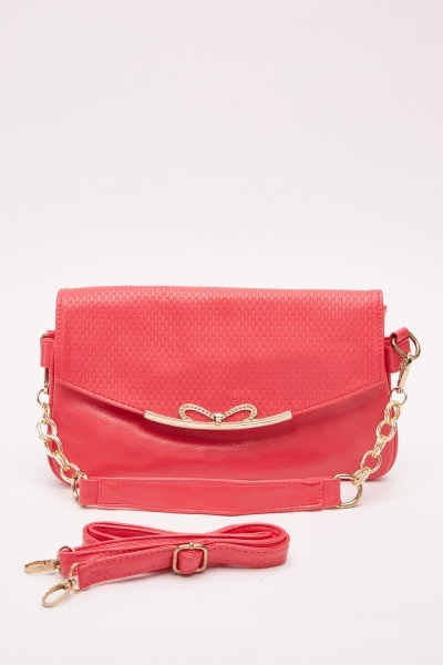 Detailed Front Textured Contrast Bag