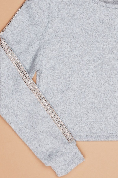 Embellished Sleeve Speckled Jumper
