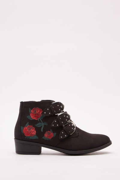 Embroidered Heeled Boots