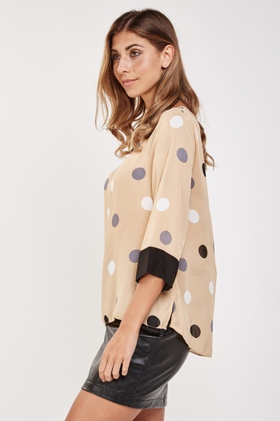 Contrasted Polka Dot Sheer Blouse