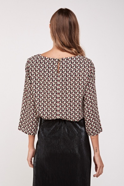 Printed Long Sleeve Blouse