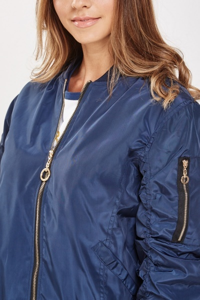 Ruched Puffer Bomber Jacket