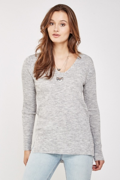 Casual Knitted Rib Top