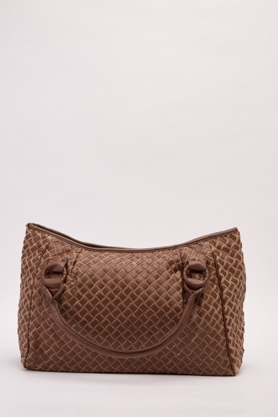 Basket Weave Faux Leather Handbag