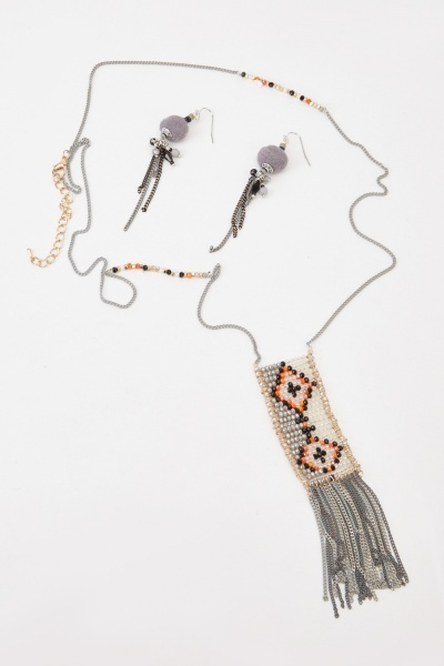 Beaded Chain Necklace And Earrings Set