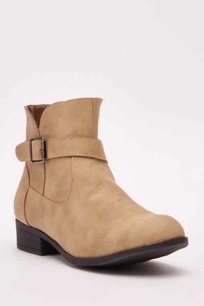 Buckle Trim Ankle Boots