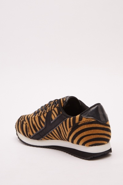 Lace Up Tiger Print Trainers
