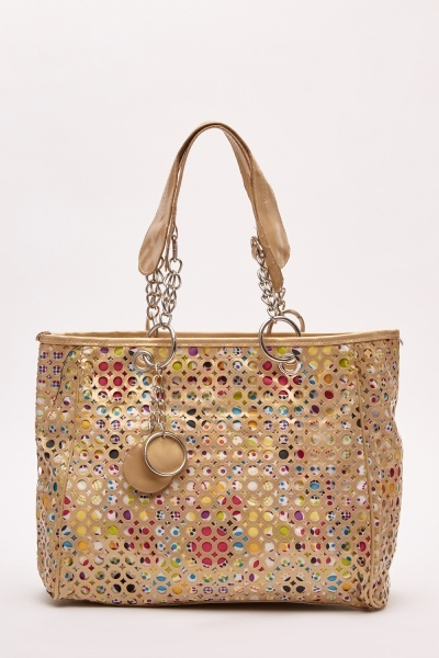 Laser Cut Contrasted Tote Bag