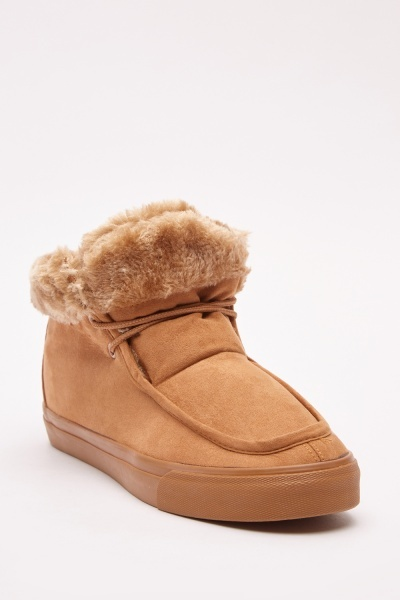 Mens Teddy Fur Moccasin Boots