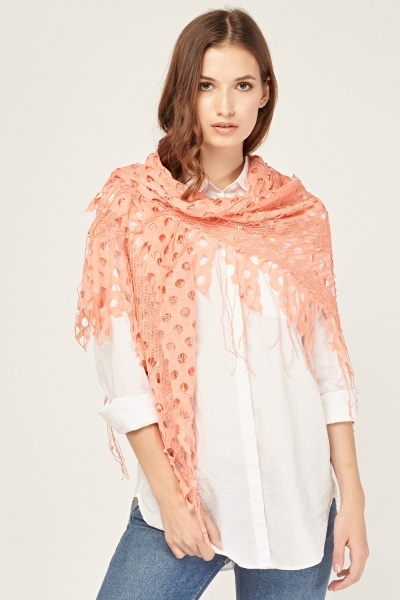 cut out fringed scarf