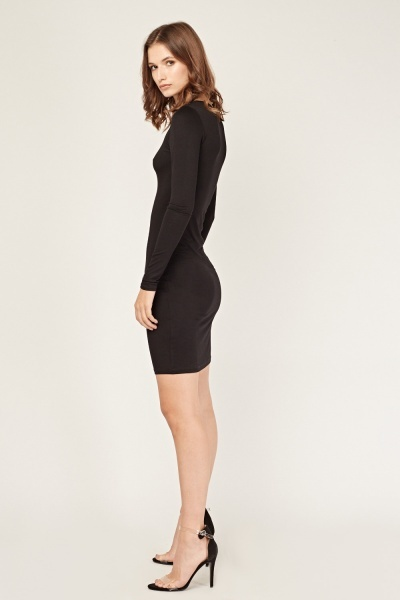 Long Sleeve Plain Bodycon Dress