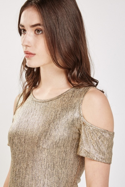 Metallic Cold Shoulder Top