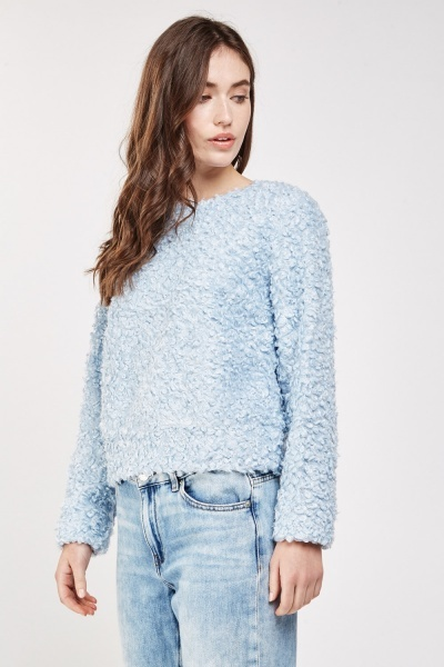 Teddy Bear Fur Overlay Jumper