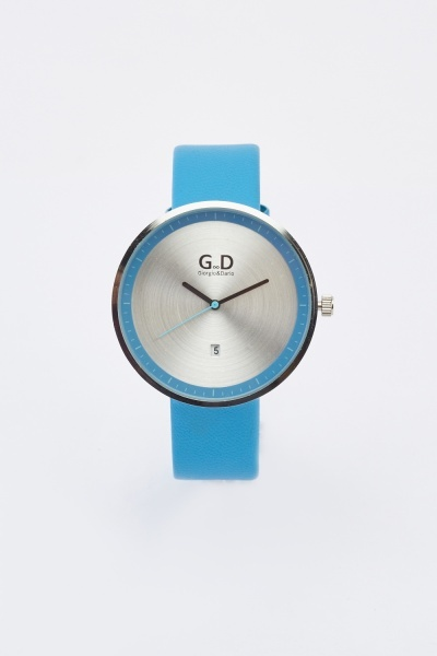 Blue Round Faux Leather Watch