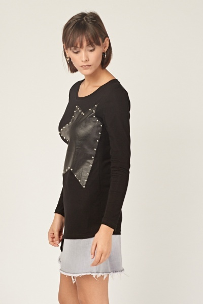 Faux Leather Stud Applique Top