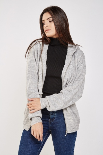 Zip Up Hooded Knit Cardigan
