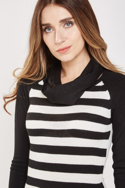 Contrasted Stripe Knit Dress
